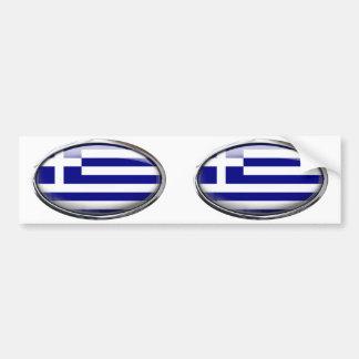 Grekisk flagga i den Glass ovalen Bildekal