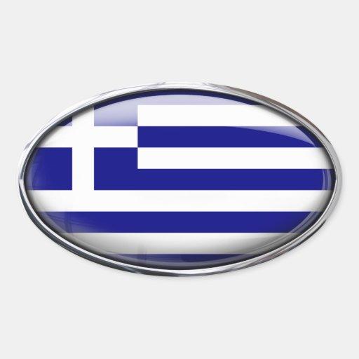 Grekisk flagga i den Glass ovalen (packen av 4) Ovalformat Klistermärke