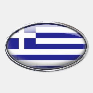 Grekisk flagga i den Glass ovalen (packen av 4) Ovalt Klistermärke
