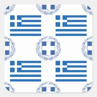 Grekisk flagga och vapensköld fyrkantiga klistermärken