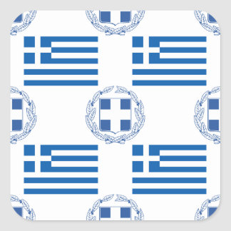 Grekisk flagga och vapensköld fyrkantigt klistermärke