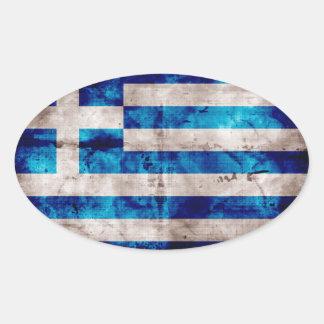 Grekisk flagga ovalt klistermärke