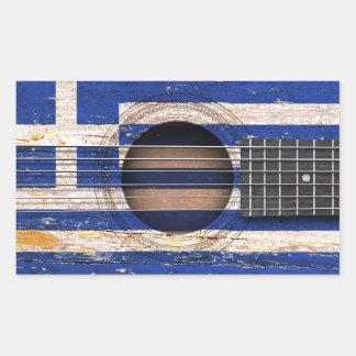 Grekisk flagga på den gammala akustiska gitarren retangel klistermärke