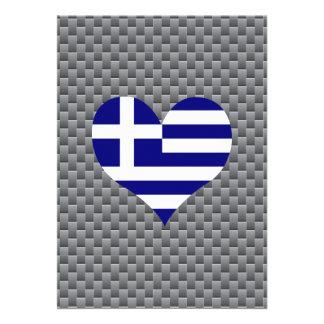 Grekisk flagga på en molnig bakgrund 12,7 x 17,8 cm inbjudningskort