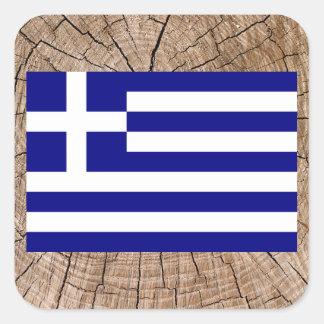 Grekisk flagga på trädskäll fyrkantigt klistermärke