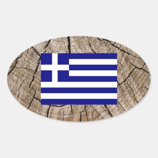 Grekisk flagga på trädskäll ovalt klistermärke