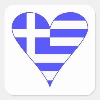 Grekisk flaggahjärtafunky fyrkantigt klistermärke