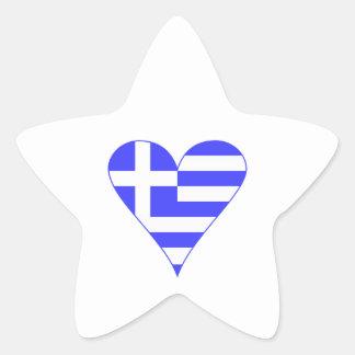 Grekisk flaggahjärtafunky stjärnformat klistermärke