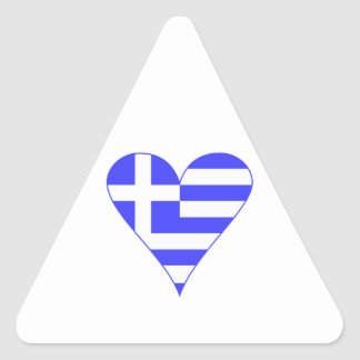 Grekisk flaggahjärtafunky triangelformat klistermärke