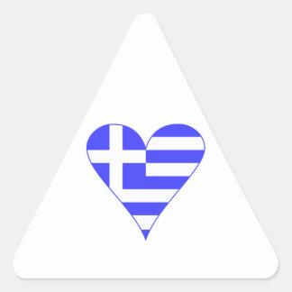 Grekisk flaggahjärtafunky triangle sticker