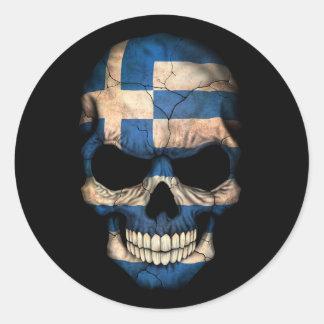 Grekisk flaggaskalle för anpassade runt klistermärke