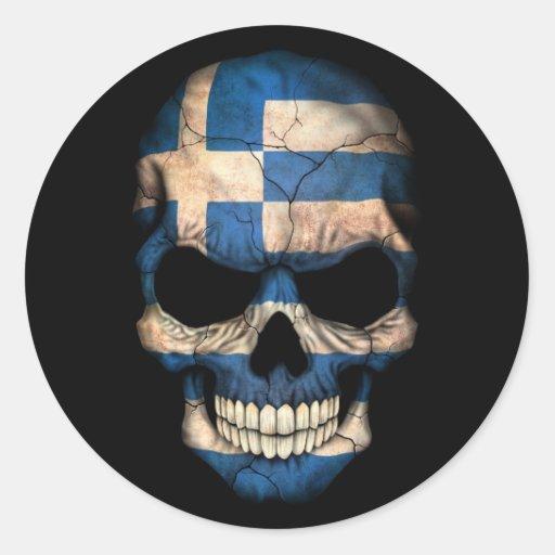 Grekisk flaggaskalle på svart klistermärke