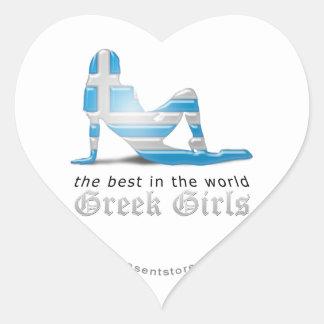 Grekisk flickaSilhouetteflagga Hjärtklistermärken