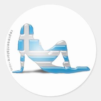 Grekisk flickaSilhouetteflagga Rund Klistermärke