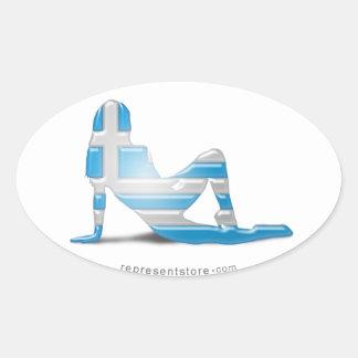 Grekisk flickaSilhouetteflagga Ovalt Klistermärke