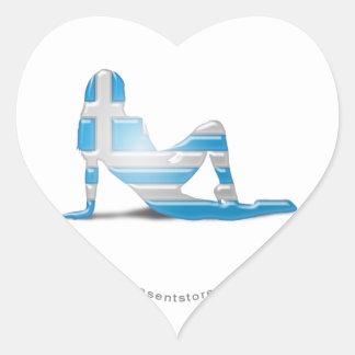 Grekisk flickaSilhouetteflagga Hjärtformade Klistermärken