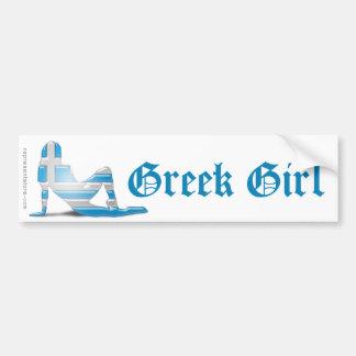 Grekisk flickaSilhouetteflagga Bildekal