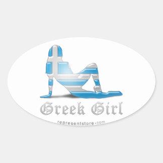 Grekisk flickaSilhouetteflagga Ovalformat Klistermärke