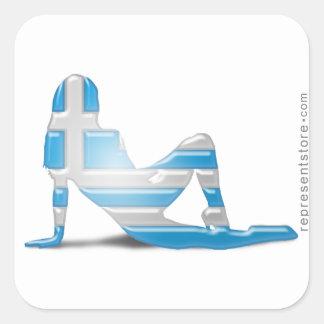 Grekisk flickaSilhouetteflagga Fyrkantigt Klistermärke