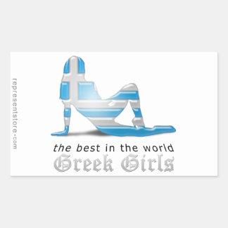 Grekisk flickaSilhouetteflagga Klistermärke
