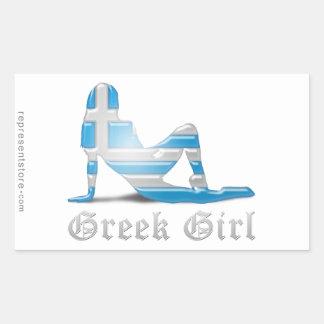Grekisk flickaSilhouetteflagga Rektangulärt Klistermärke