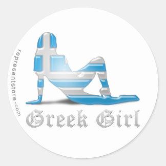 Grekisk flickaSilhouetteflagga Runda Klistermärken