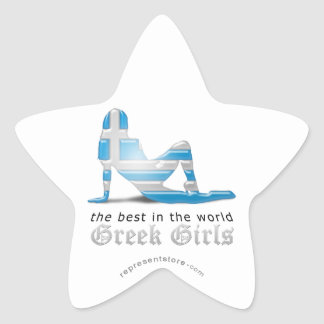 Grekisk flickaSilhouetteflagga Stjärnformat Klistermärke