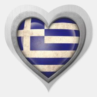 Grekisk hjärtaflaggarostfritt stål verkställer klistermärke