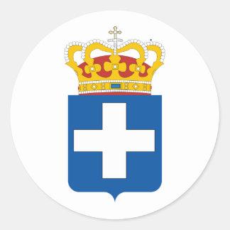 Grekisk kunglig ärmar, Grekland Rund Klistermärke