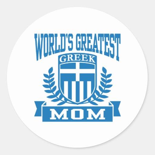 Grekisk mamma runda klistermärken