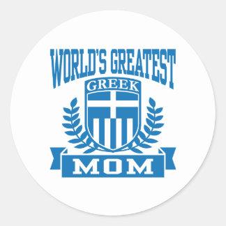 Grekisk mamma runt klistermärke