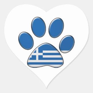 Grekisk patriotisk katt hjärtformat klistermärke