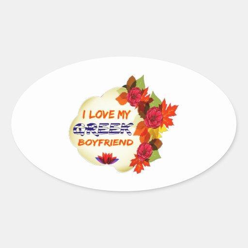 Grekisk pojkvändesign ovalformat klistermärke