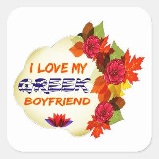 Grekisk pojkvändesign fyrkantigt klistermärke