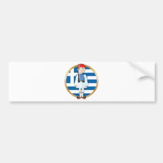 Grekiska Evzone med flagga Bildekal