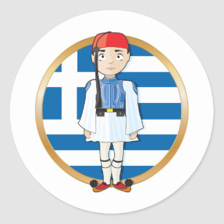 Grekiska Evzone med flagga Runda Klistermärken