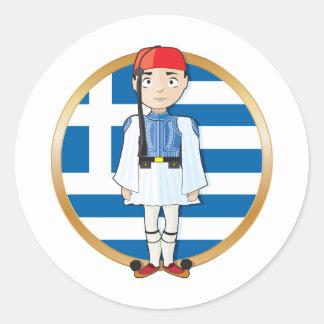 Grekiska Evzone med flagga Runt Klistermärke