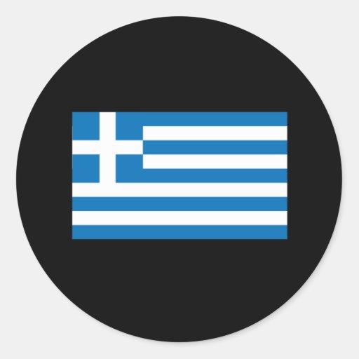 Grekiska flaggaT-tröja och gåvor Runda Klistermärken
