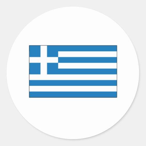 Grekiska flaggaT-tröja och gåvor Rund Klistermärke