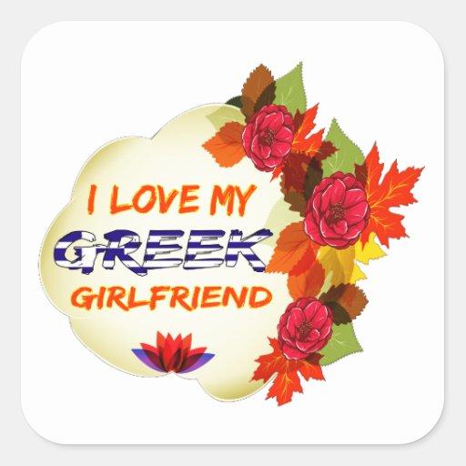 Grekiska flickvändesigner fyrkantigt klistermärke