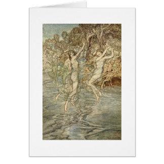 Grekiska gudinnor över vatten (tom insida) hälsningskort