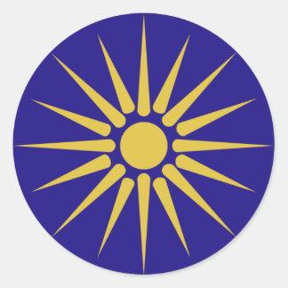 Grekiska Makedonien, Grekland flagga Runt Klistermärke