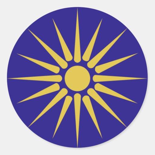 Grekiska Makedonien, Grekland flagga Runda Klistermärken