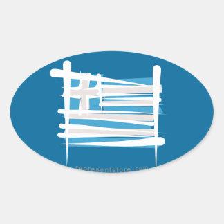 Grekland borstar flagga ovala klistermärken