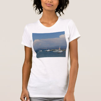 Grekland Corfu, gammal fyr, kvinna T-tröja Tee Shirt