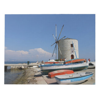 Grekland Corfu, gammal kvarn, anteckningsblock