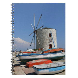 Grekland Corfu, gammal kvarn, anteckningsbok