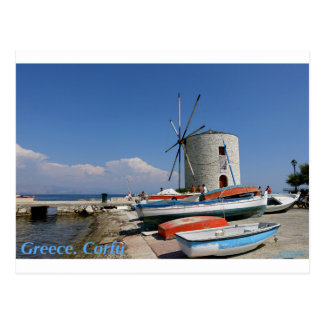 Grekland Corfu, gammal kvarn, vykort