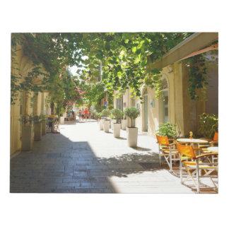 Grekland Corfu gata, anteckningsblock