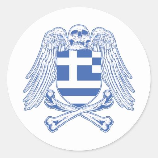 Grekland Crossbones Runda Klistermärken